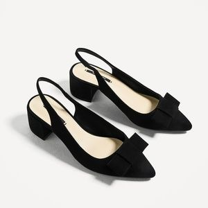 NWT Zara Size 6 Slingback Bow Block Heel